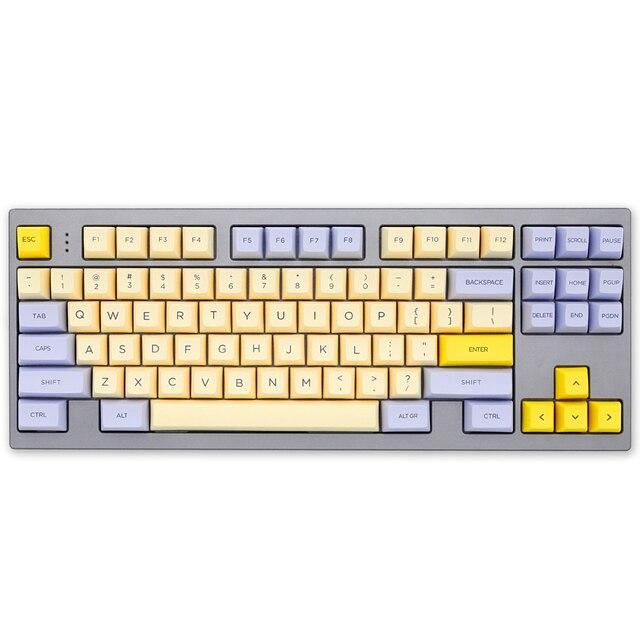 SA profile Dye Sub Keycap Set PBT plastic lily beige purple  for mechanical keyboard beige grey cyan gh60 xd64 xd84 xd96 87 104