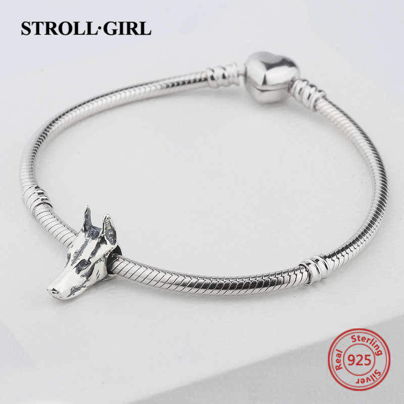 StrollGirl 925 gümüş kişiselleştirilmiş boncuk özelleştirmek köpek başkanı charm hayvan koleksiyonu fit Pandora bilezik takı kız hediye için