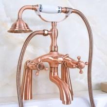 Deck Mounted Bath Tub Faucet Antique Red Copper Bathtub Faucets with Hand Shower Dual Handle Mixer Tap zna155 цена в Москве и Питере