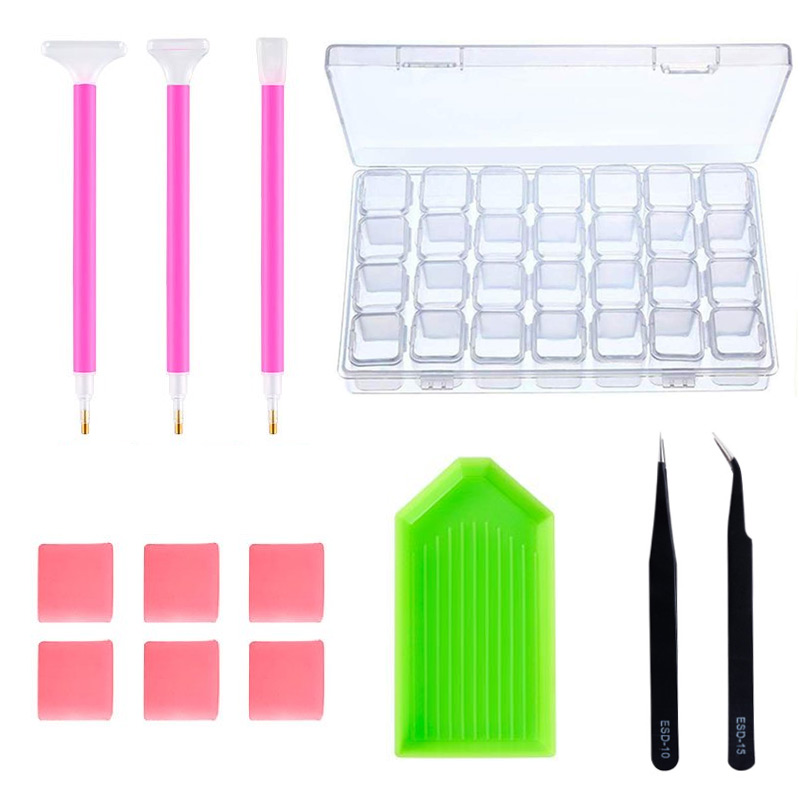 1 Set DIY Nail Art Tools Kit 5D Diamond Painting Tools Set Rhinestones Pick Up Pen Storage Box For Nail Art Decoration H1032