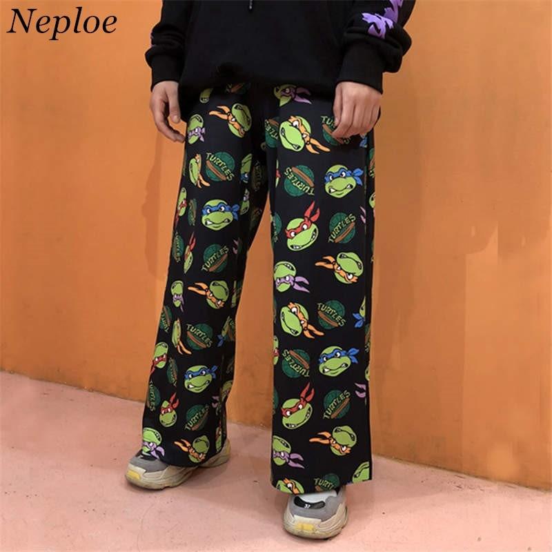 Neploe Retro Cartoon Printed Pants Woman Man Wide Leg Trousers Pantalones Harajuku Streetwear Pants Mujer Cintura Alta