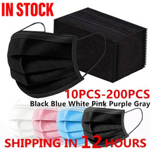 10pcs-200PCS Disposable Black Adult Protective Mask Anti Dust Anti Droplets 3 Layers Filter Earloop Non Woven Face Mouth Mask