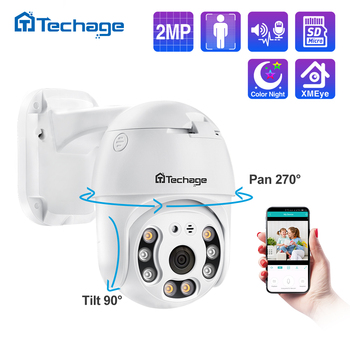 Techage 2MP Security POE IP Camera 1080P PTZ Dome AI Video Camera Two Way Audio Human Detect Surveillance TF Card for NVR System 1