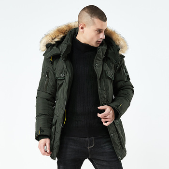 2019 Men's Winter Solid Cotton Parka Warm Down Jackets Thick Fur Collar Coats Waterproof Zipper Pocket High Quality Parka M-3XL