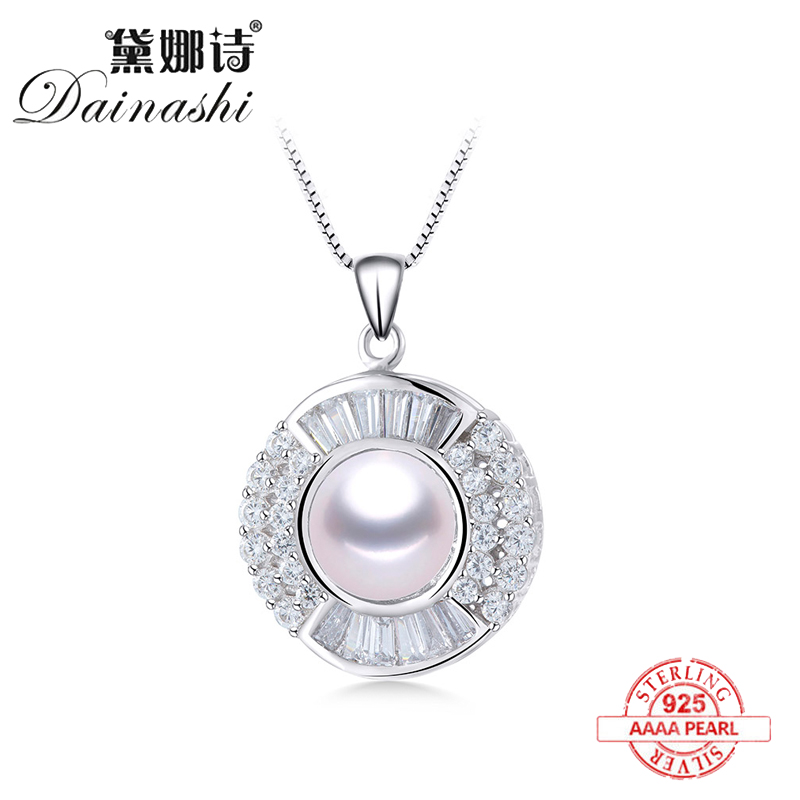 Fashion Natural Freshwater Pearl Pendant Crystal Zircon Necklace 925 Sterling Silver Luxury Jewelry For Women Festival Gift Hot