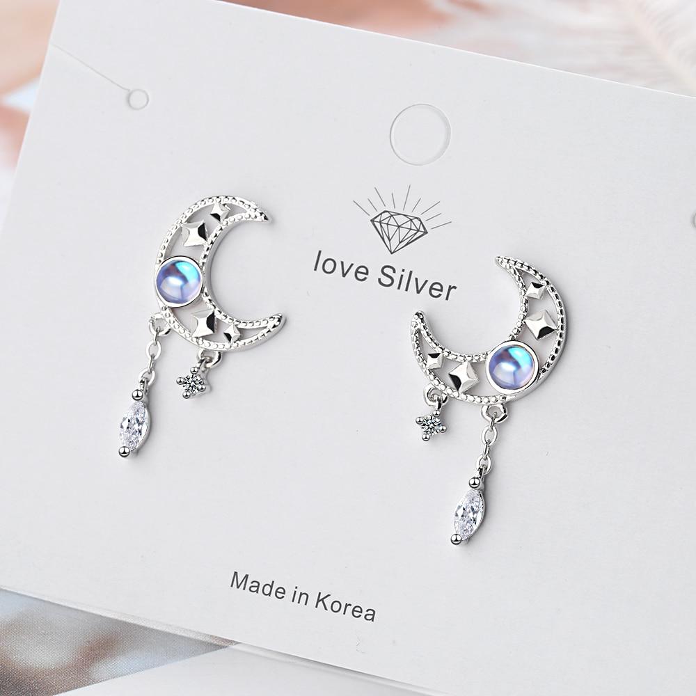 Fashion Silver Color Hollow Moon Zircon Tassel Dangle Earring Elegant Colorful Moonstone Earring For Women Jewelry S-E1013