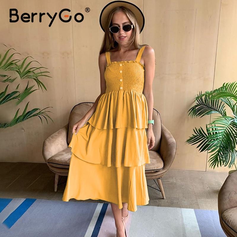 BerryGo Holiday Beach Strap Summer Dresses Women Smocking Ruffle High Waist Sundress Casual Buttons Ladies Loose Midi Dress 2020