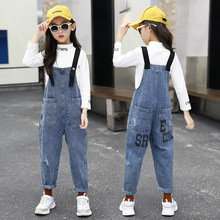 цены Denim Girls Overalls Jumpsuit Jeans Jumpsuits for Kids 6-16 Year Fashion Pocket Casual Teen Girl Overall Pants Children Clothing