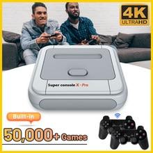 4k tv console de jogos de vídeo super x pro embutido 50000 retro jogo para psp/ps1/dc/n64 duplo sistema de jogo jogador com 2 gamepad