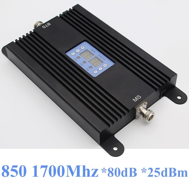 Lintratek 80dB Repeater 2G 3G 4G Signal Booster 850 1700Mhz AGC Repeater 25dBm CDMA 850 AWS 1700 B5 B4 Dual Band AGC MGC 80dB