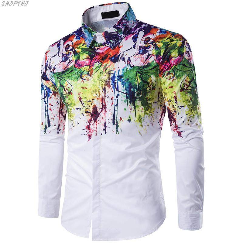 Fashion 3D Splash Paint Print Slim Fit Shirts Mens Luxury Long Sleeve Casual Dress Shirts Top Hot Sale High Quality