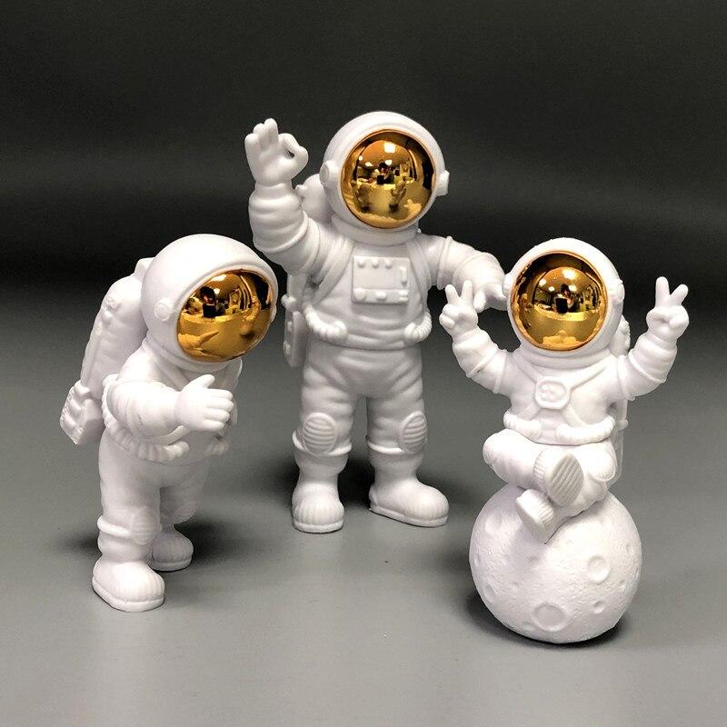 3pcs Astronaut Spaceman Figure Doll Toys For Children Astronaut Statue Figurine Sculpture Home Desktop Decoration Girl Boy Gift