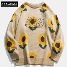 Sunflower Sweater Women Men 2020 Autumn Fashion Long Sleeve Knitted Pullover High Quality Clothes Khaki black Casual Sweater(China)