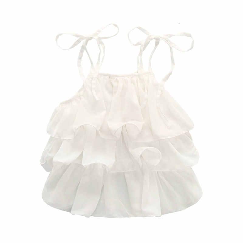 AiLe conejo verano coreano niños ropa niñas gasa pastel Sling pantalones 2 piezas perla flor Halter Top Denim niños conjunto de K1