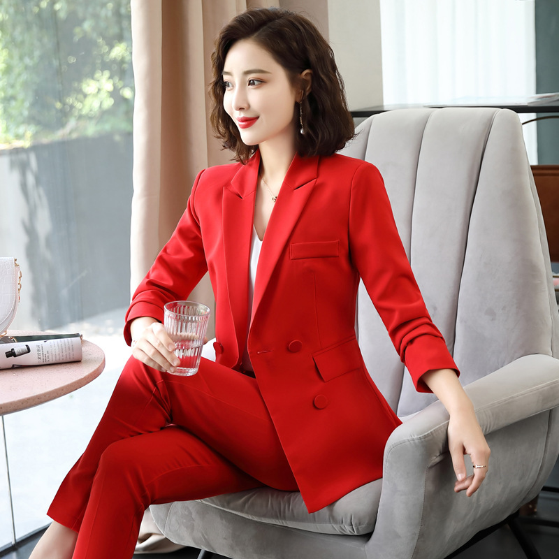 Black Red Pink female women's trouser Pants suits with dress jacket vest costumes ladies office wear blazer waistcoat suit set