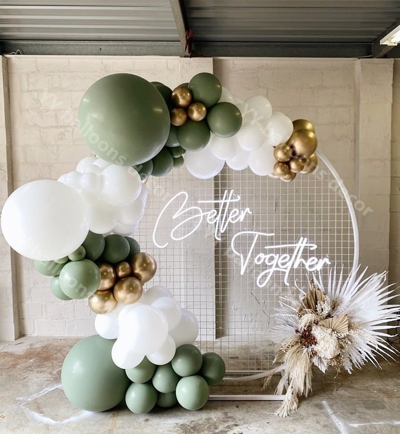 GLOBAL Chrome Gold Matte White Balloon Baby Shower Sage Green Balloons Garland Arch DIY Party Wedding Decoration Favors Decor
