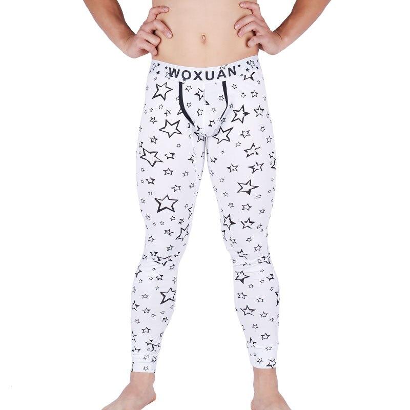 Mens Sexy Warm Long Johns Hot Elastic Print Pants Male Fashion Cotton Legging Tight Pant