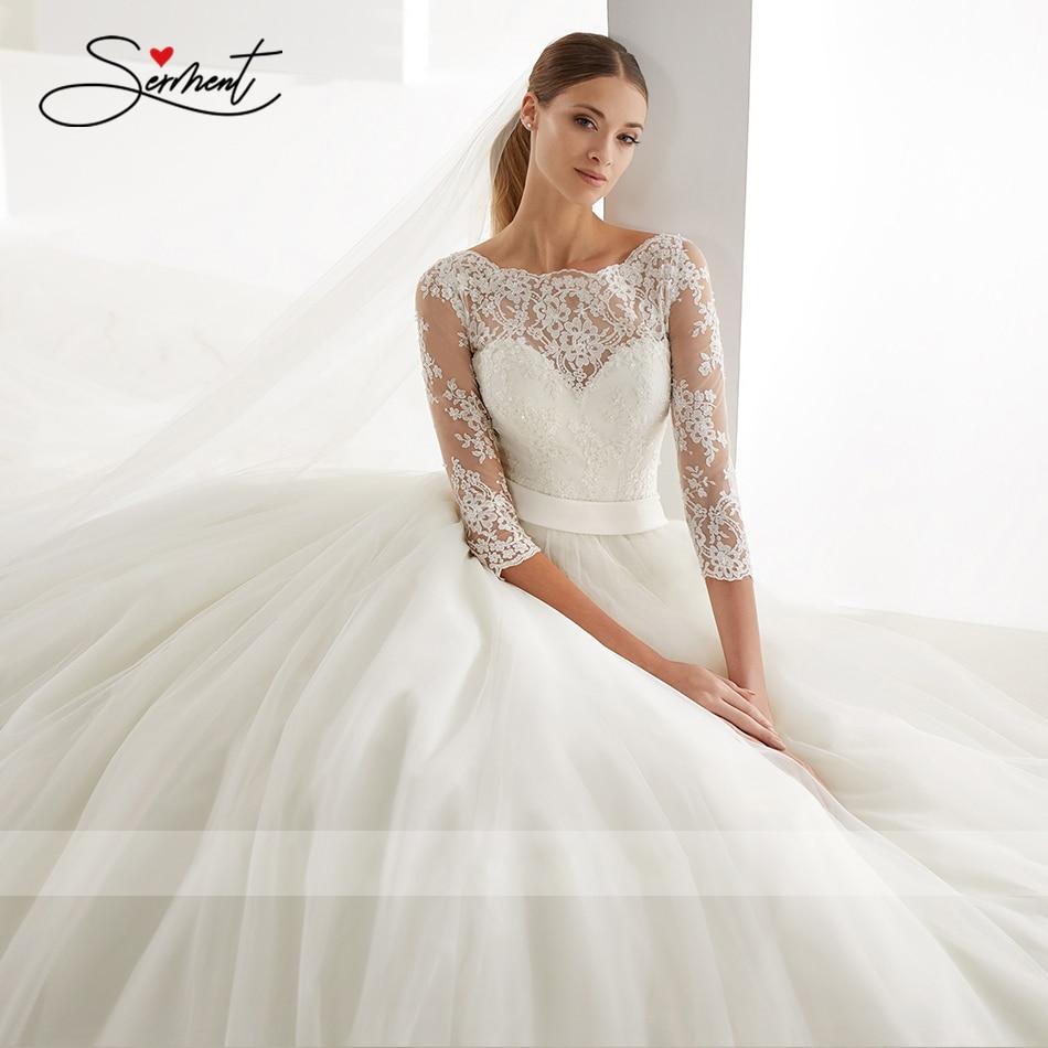 Image 4 - OllyMurs 2020 Luxury Wedding Dress Long Sleeve Turtleneck Applique Lace Wedding Noble Applique Muslim Brides Support Tailor madeWedding Dresses   -