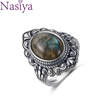 Nasiya Vintage Oval Natural Labradorite Rings For Women 925 Sterling Silver Ring Jewelry Finger Ring Gemstone Rings Party Gift natural blue fire labradorite handmade unique 925 sterling silver ring 8 b1036