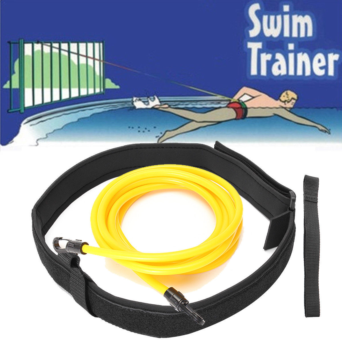 Swimming Resistance Belt Set Latex Swim Training Band  Safety Leash Swim Elastic Exerciser Belt With One Waist Strapk Bag Set