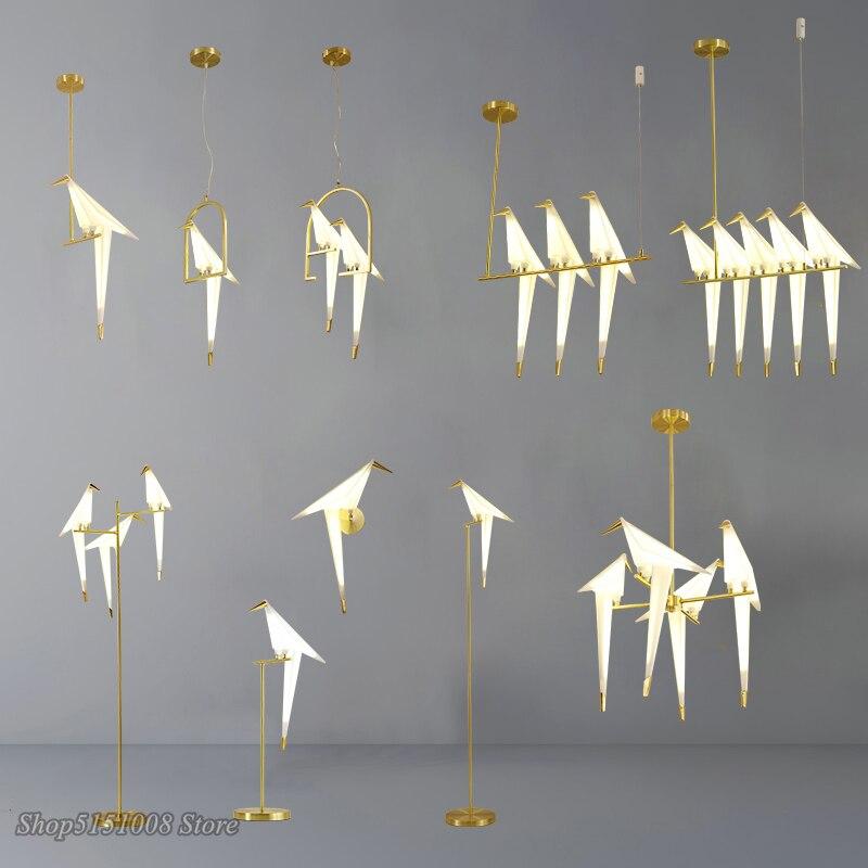 北欧金鳥籠ペンダントライトリビングルーム折り紙鳥光キッチンランプダイニングルーム紙家器具