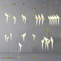 Skandynawski złoty ptak lampa w kształcie wiszącej klatki salon sypialnia origami ptak światło kuchnia wiszące lampy jadalnia papierowe oprawy domowe w Wiszące lampki od Lampy i oświetlenie na