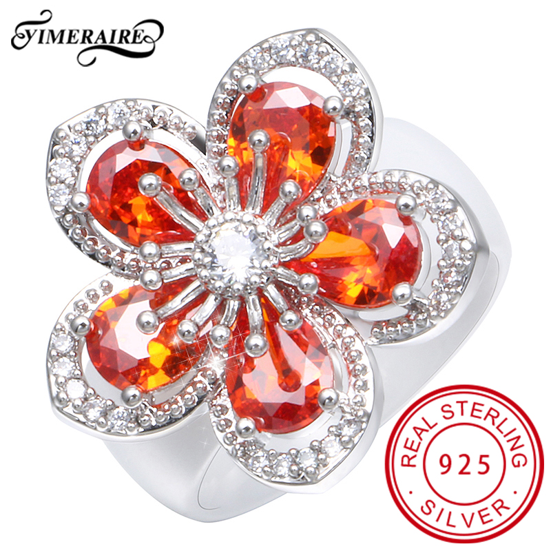Luxury Style Jewelry For Women Big Bling Crystals Flower Design Smooth Ceramic Finger Ring Beautiful Fashion Statement Wedding