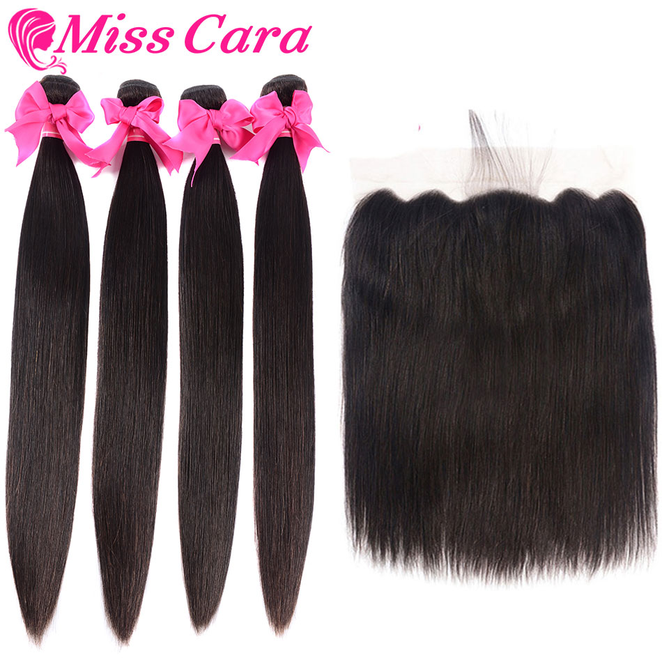 Miss Cara Remy Straight Hair Bundles With 13x6 Frontal Brazilian Hair Weave Bundles 100% Human Hair 3/4 Bundles With Frontal