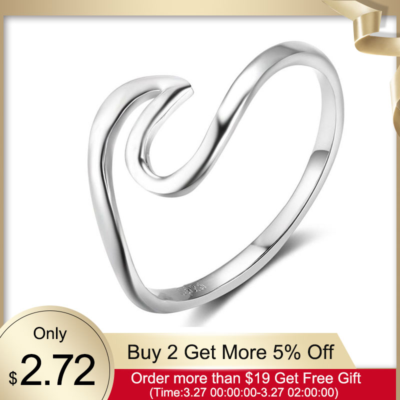 Simple Style 925 Sterling Silver Rings For Women Wave Shape Size Ring 5 6 7 8 9 10 Gift For Friend Fine Jewelry (Lam Hub Fong)