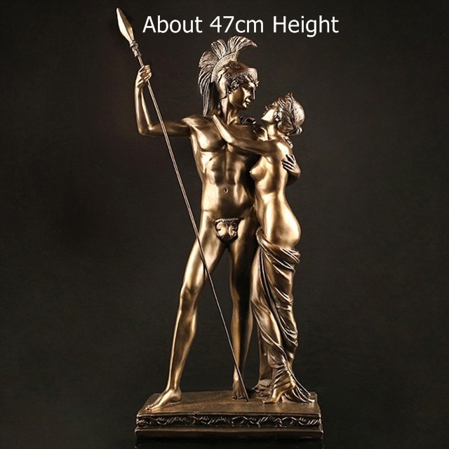 Antique Roman Lovers Warrior Sculpture Handmade Resin Statue 6