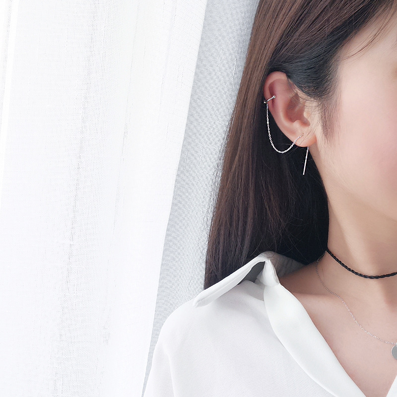 Korean Long Silver Color Tassel Ear Cuff Earrings for Women Ear Line Sweet Small Fresh C Shaped Ear Bone Clip Fashion Jewelry(China)