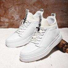 SUROM sıcak kısa peluş erkek kışlık ayakkabı kalın alt su geçirmez yarım çizmeler erkekler yumuşak rahat klasik siyah beyaz Sneakers