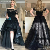 Black Full Lace High Low Prom Dress Off Shoulder Short Sleeves Evening Gowns High Quality Fashion Party Gown Custom Made