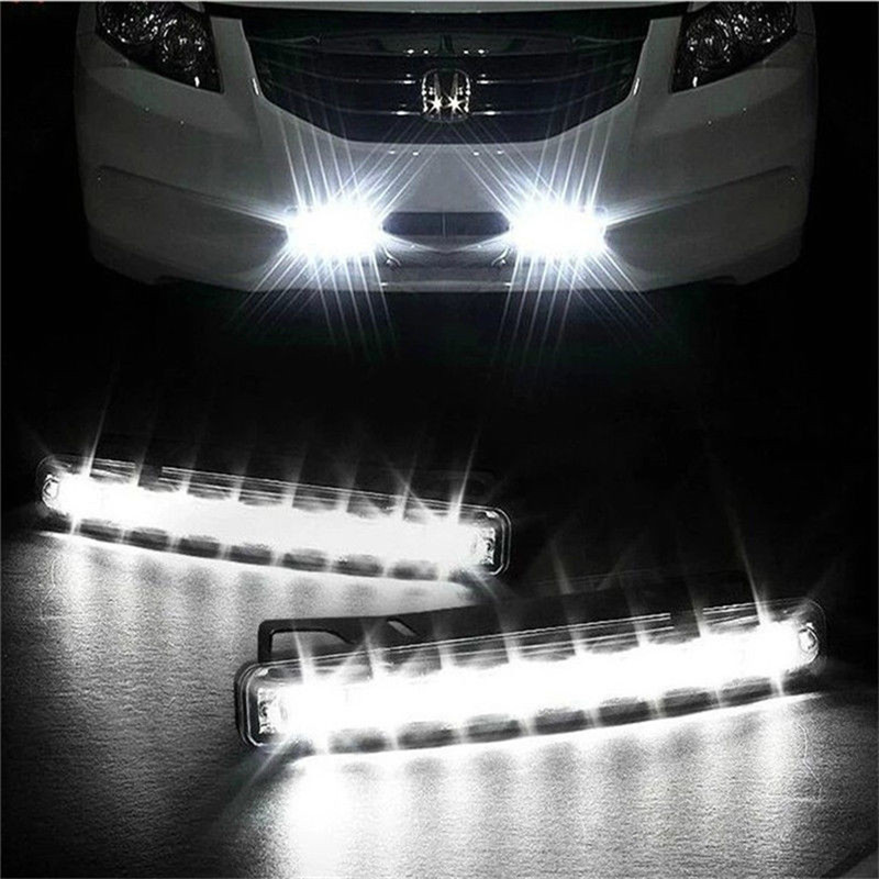 8 LED gündüz çalışan işık araba DRL sis sürüş günışığı başkanı drl lambaları otomatik navigasyon ışıkları sinyal lambası araba