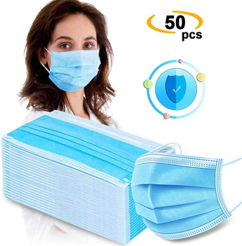 Mask Disposable Three Ply Face Mask Anti Mouth Cover Flu Facial Dust Template Filter Masks 1*50pcs