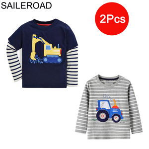 Image 5 - SAILEROAD 2Pcs בנים ארוך שרוול חולצות כותנה בעלי החיים הדפסת בנות ארוך שרוול חולצות לילדים בגדי סתיו ילדי חולצה