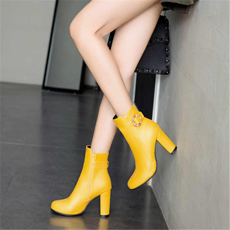 Femmes bottines talons hauts bottes fermeture éclair bout rond hiver dames bottes blanc jaune noir bottes femme 2019 nouvelles chaussures
