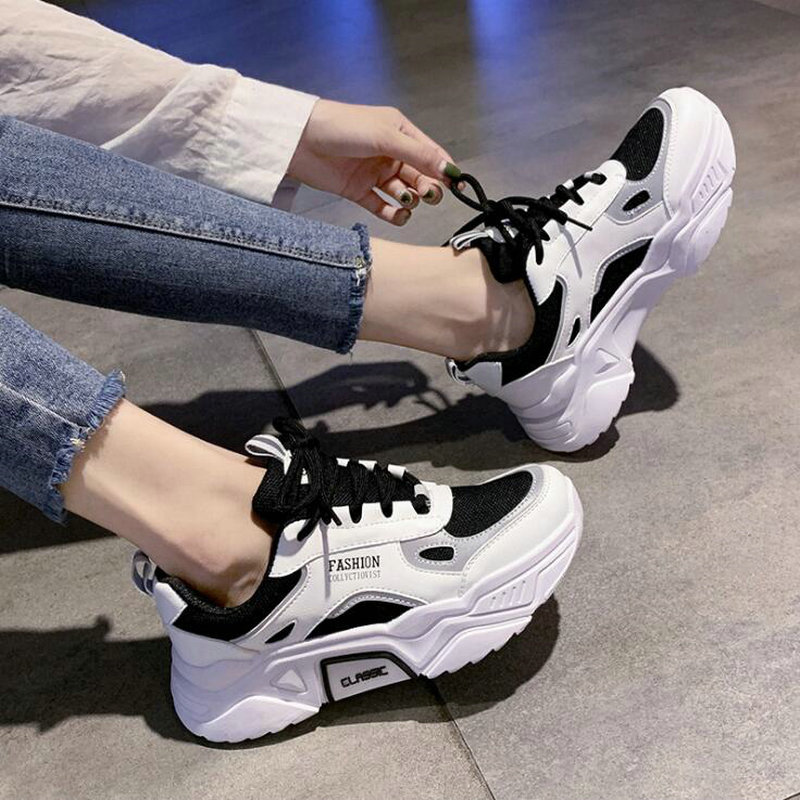 Autumn New Breathable Sneakers Korean Wild Woman Running Shoes Women's Lightweight Non-slip Sport Shoes C35-19