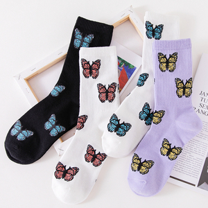 New Butterfly Socks Women Streetwear Harajuku Crew Kawaii Stripe Fashion Ankle Funny Cotton Embroidered Expression