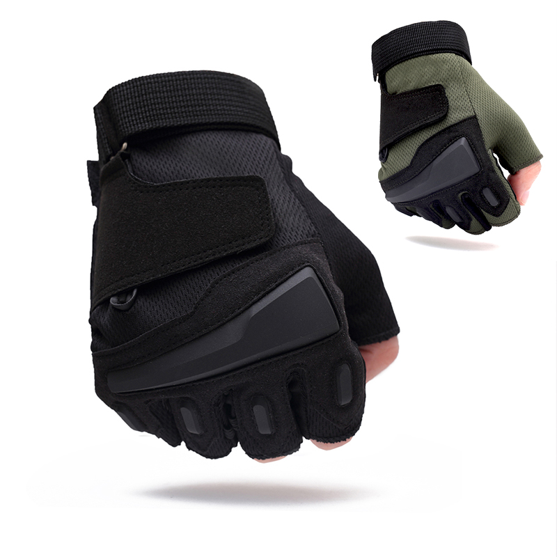 Black CS Gloves Tactical Military Half Finger Gloves Mens Outdoor Sport Training Riding Climbing Driving Hiking Gloves