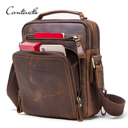 CONTACT'S Кожаная мужская сумка винтажная сумка на плечо для 9.7-дюймового iPad сумки на молнии для мужчин высокое качество 2019
