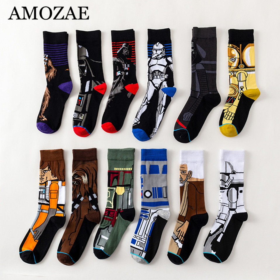 Star Wars Movie Carton Socks Master Yoda Cosplay Socks Wookiee Jedi Knight Novelty Women Socks Spring Autumn Winter Socks