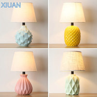 Nordic Ceramics Table Lamp with EU/US Plug in Fabric Lampshade LED E27 Table Decoration Lights for Reading Yellow Pink Green