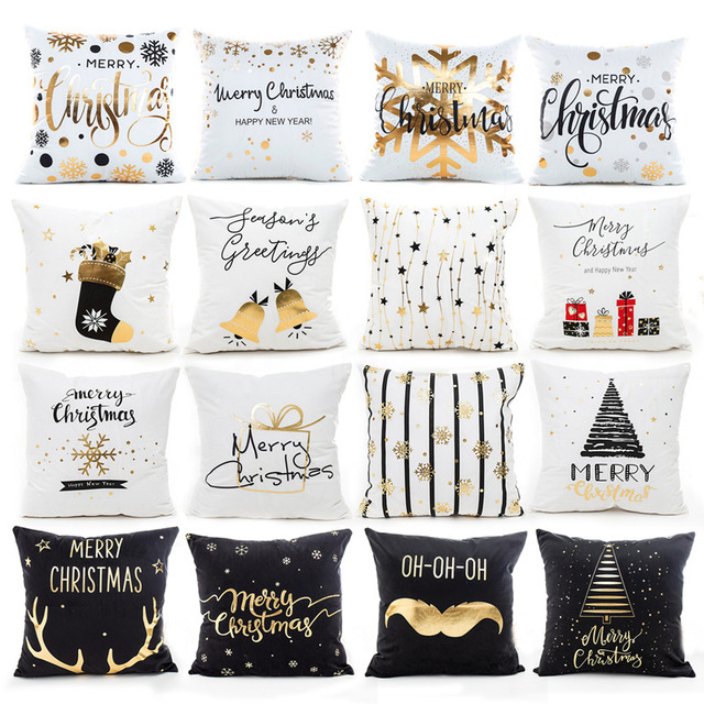 45X45CM Pillow Case Merry Christmas Decoration For Home 2019 Christmas Ornament Christmas Gift Cristmas Noel Happy New Year 2020 1