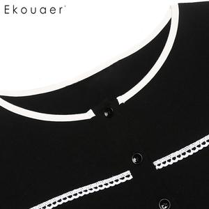 Image 5 - Ekouaer Women Maxi Nightgown Autumn Nightwear Dress O Neck Long Sleeve Solid Loose Nightdress Chemise Sleepwear