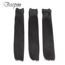 Deepin Double Drawn Peruvian Straight Hair Weave Bundles Vrigin Hair Extension Natural Color For Top Customer 100% Human Hair