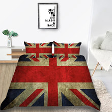 British Flag Bedding Set King Retro Fashion Soft 3D Duvet Cover Queen Simple Twin Full Single Double Unique Design Bed Set(China)