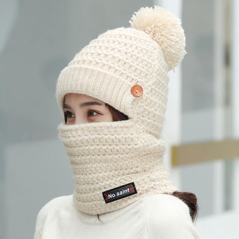 Hat Female Winter Wild Plus Velvet Warm Autumn And Winter Ladies Sweet Cute Knitted Cotton Blend Hat  Hat