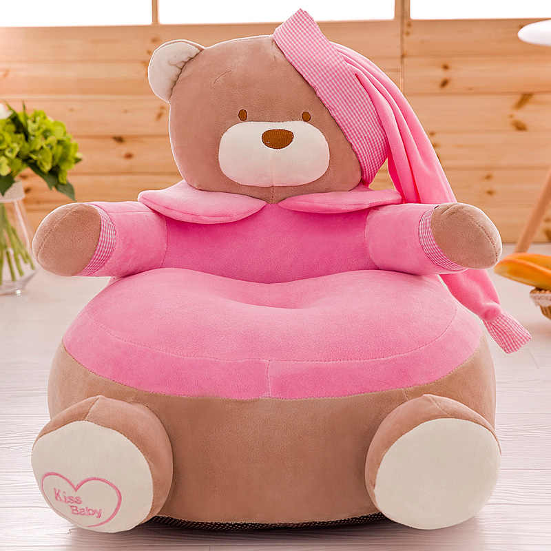 かわいいベビーシートスキンソフトぬいぐるみ子供豆袋の椅子快適おもちゃぬいぐるみ漫画のクマ椅子洗えるカバーのみなし充填