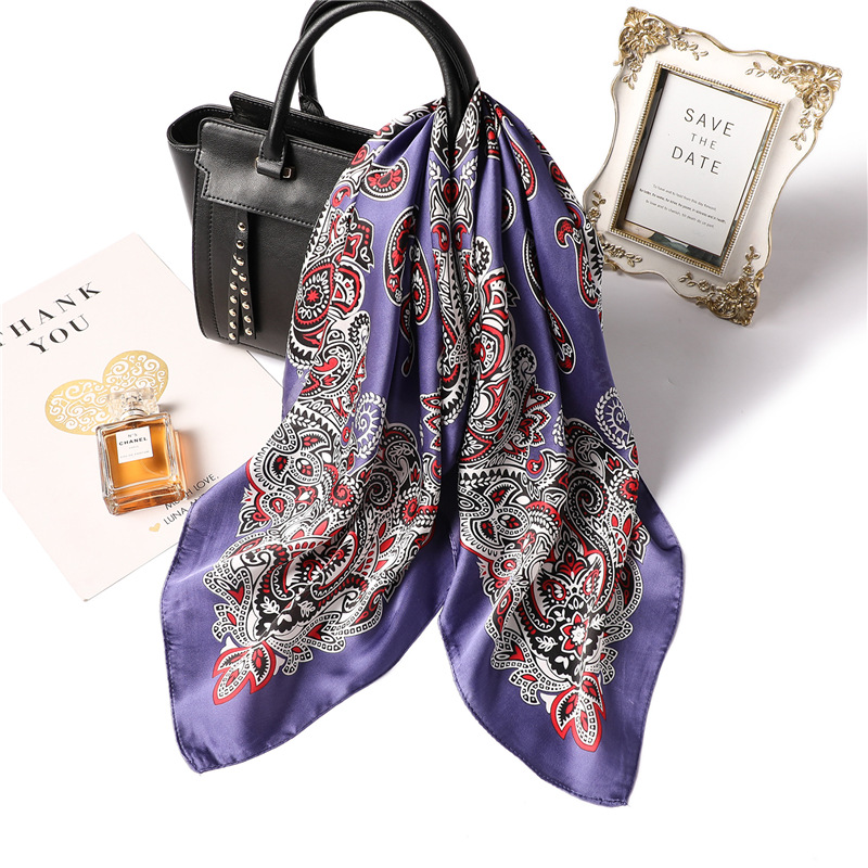 Fashion Paisley Print Hair <font><b>Scarf</b></font> For Women <font><b>Silk</b></font> Satin Kerchief Small Bandana Head Bag Scarfs <font><b>70cm</b></font> Square Neck <font><b>Scarves</b></font> For Ladies image